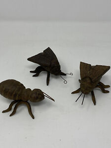 """Set of 3 Cast Iron Garden Ornaments Bugs Insects Fly Ant 3"""""""