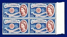 More details for 1960 sg622 1s6d europa w15 block(4) variety brown shift left (portrait) mnh akbv
