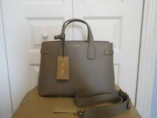 NWT Burberry $1690 Banner Derby Vintage Check Leather Satchel Tote Shoulder Bag