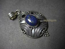 Metal Tribal Ethnic Pendant Necklace Tibet P3126 Gypsy Lapis lazuli Stone White