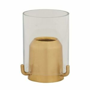 "7/8"" SATIN FINISH BRASS CANDLE FOLLOWER WITH GLASS SHIELD"