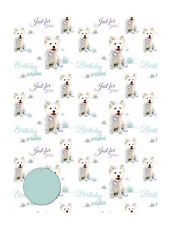 West Highland Terrier Westie Dog Birthday Wrapping Gift Paper 2 Sheets & 2 Tags