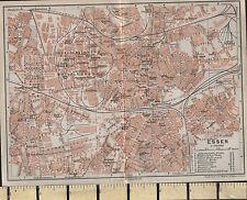 1925 GERMAN MAP ~ ESSEN CITY PLAN SHOWING STATIONS CHURCHES MARKET GARDENS