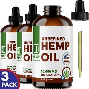 Hemp Oil 30,000 mg For Pain Relief Anxiety, Sleep 3 oz (3 x 1 oz)
