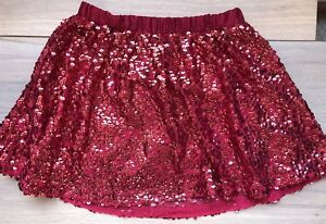 Girls Size M 7/8 Cherokee Sparkly Skirt Red With Sequins EUC