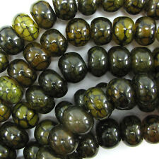 "16mm yellow green dragon vein agate rondelle beads 7"" strand"
