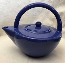 Vintage 1998 Nicole Miller by Sakura Royal Blue Teapot Tea Pot ART DECO Style
