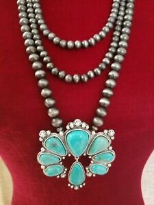 SQUASH BLOSSOM TURQUOISE NAJA STYLE NECKLACE.  NATURAL STONE.    *NWT*