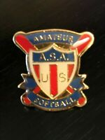 Collectible Amateur ASA Softball Pinback Lapel Pin Hat Pin Enamel Colorful Metal