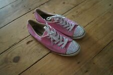 Customised Crystal Bling Converse All Star Lo SWAROVSKI Toe UK 5 pink