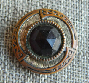 """Antique Vtg Gay 90's Button w/ Facted Black Glass Apx:1-1/8""""~#910-D"""