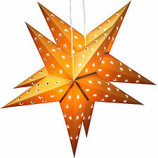 Twinpack Golden Christmas Paper Star 5 Leaf 'Star Cutting' 24 Inches with 10 LED