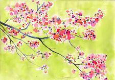 Original real paintings, CHERRY TREE FLOWER BLOOM, pink happy SUNNY bright mood