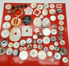 70 ANTIQUE VINTAGE CARVED MOTHER OF PEARL SHELL MOP BUTTONS & Jewelry Pendants