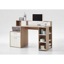 Eiche Sägerau / weiß  Schreibtisch PC-Tisch Bürotisch Arbeitstisch 135 cm FMD