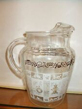 """Mid Century Clear Glass Pitcher with White Olde Tyme Designs, 9"""" Tall #fr658"""