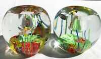 Aquarium Pair of Art Glass Hand Blown Candle Holders