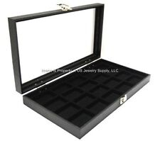 Wholesale Lot 6 Glass Top Black 20 Space Display Organizer Cases Jewelry Pins