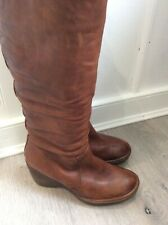 Clarks tan long boots wedge heels size