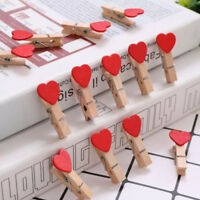 10pcs Creative Heart Wooden Clips Clothespins Memo Pegs Photo Paper Clips Xmas