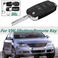 3Button 434 MHZ Flip Key Keyless Entry Fob ID48 Chip K17 Black For VW SKODA SEAT