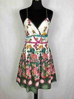 DESIGUAL Abito Vestito Donna Cotone Fiorato Bohemian Dress Sz.S - 40