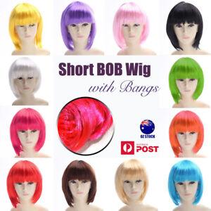 Womens Short Straight BOB WIG Hair Party Wigs Sleek Synthetic Cosplay Hens Bangs