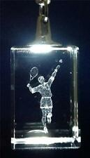 """Tennis Player 3D Crystal Glass Laser Etching w/ Chrome Keychain 4"""" Gift Box NEW"""