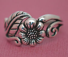 PRETTY SUNFLOWER BAND Ring All Genuine Sterling Silver.925 Stamped Size 7