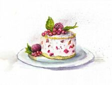 Cake original painting kitchen watercolour room decor