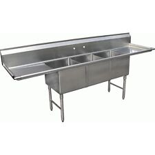 """Allstrong 3 Compartment Sink 18"""" x 18"""" with 2 of 18"""" Drainboards Etl, Se18183D"""