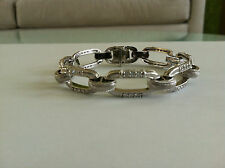 JUDITH RIPKA STERLING SILVER TEXTURED STATEMENT LINK BRACELET SIZE MEDIUM
