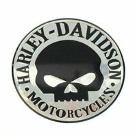 2x Harley Davidson Emblem Badge Skull Decals Motorcycle Balck/ Chrome