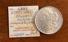 MONETA STATI UNITI 1 DOLLARO MORGAN 1887 ARGENTO sigillata SPL/FDC SUBALPINA
