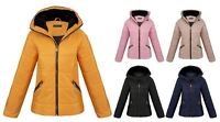 Womens Faux Fur Padded Collar Quilted Lining Zip Up Pockets Jacket Winter Coat