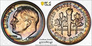 1970 Roosevelt Dime PCGS MS64 Rainbow Album Toned Registry Coin 10C TV