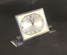 Antiguo 1930s Art Deco Reloj De Escritorio Acero Cromado por Tymo Mantel