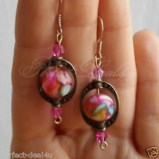 Dangle Earrings Gold Plated Hook Mother Of Pearls Multicolor Pink Round