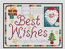 Tarjetas Navidad Santa & Robin Punto de Cruz Completo Kit #4-7/8