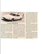 1969 DODGE CHARGER DAYTONA  ~ ORIGINAL SMALLER INTRODUCTION ARTICLE / AD