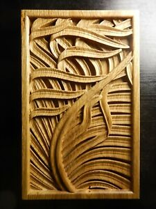 Wood carved picture wall decoration plaque. Leaves