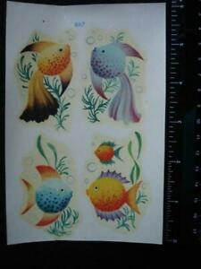 Vintage Meyercord Decals 4 Fish on 4 x 6 Card 1950's