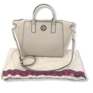 New Tory Burch Everly Straw and Leather Hobo Shoulder Bag Natural with Dust Bag
