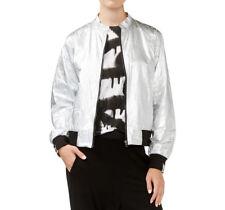 Rachel Rachel Roy Womens Silver Metallic Crinkled Bomber Jacket XL