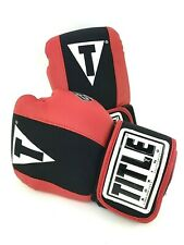 Title Boxing Gloves Youth Medium GEL WASHABLE Red Black Easy On Off Bag Training