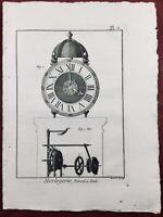Rare Gravure Horlogerie 1765 Réveil à Poids Encyclopédie Diderot