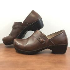 DANSKO Solstice Brown Leather Button Strap Slip on Clog Shoes Womens 42 /11.5-12
