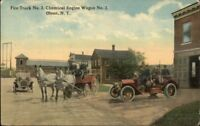 Olean NY Fire Truck Station c1910 Postcard