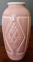 Rookwood Pottery 1923 Matte Dusty Pink Geometric Albert Cyrus Munson Vase #2415
