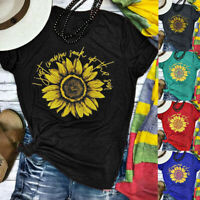 Women Plus Size Sunflower Print Round Neck Short Sleeved T-shirt Blouse Tops LIU